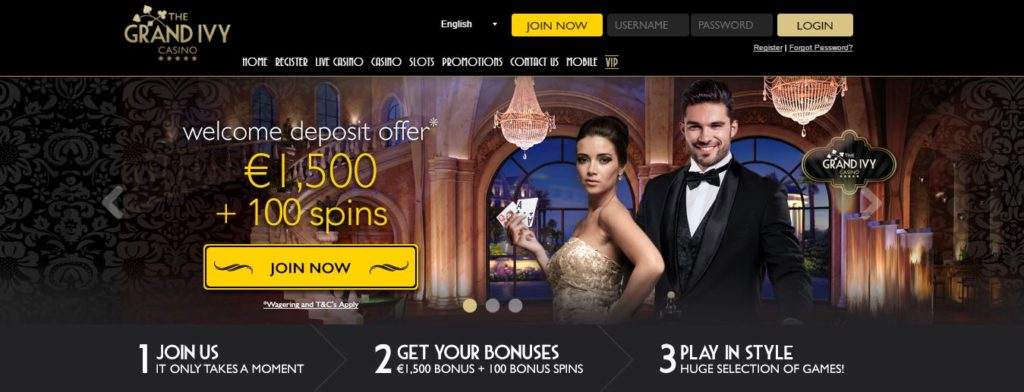 Grand Ivy Casino Homepage